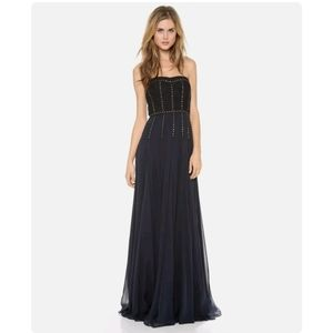 NWT Rebecca Taylor Lace Inset Strapless Gown Navy Blue Silk Maxi Dress